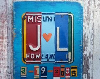 10th Wedding Anniversary Tin Aluminum Gift - 10 year wedding anniversary gift for men husband - License Plate Sign Name Word Initials LOVE