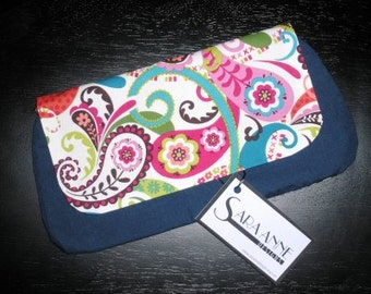 Bright Paisley Print Clutch