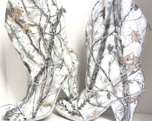 Snow White Camouflage women's western bridal boots. Hand painted white camo wedding boots.