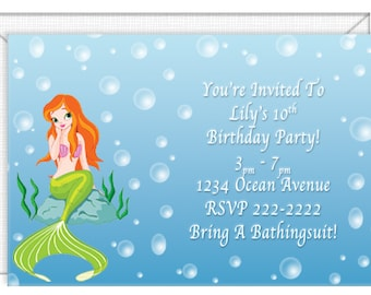 Mermaid Invitations -- personalized -- with envelopes.  Wedding invitations-party invitations. Standard Postage.  (50420)