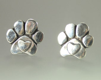 Dog Paws with Hearts Post Earrings - Dog Paw Jewelry - Dog Jewelry - Dog Lovers Jewelry - Paw Jewelry - Hearts