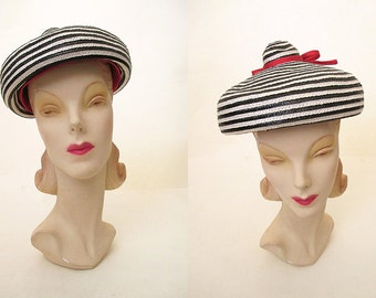 """Adorable 1950's Designer """"Beanie"""" Style Straw Hat by """"Adam, Meldrum, and Anderson Co"""" Rockabilly VLV Pinup Vixen  Size-One Size Fits All"""