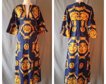 Vintage POLLY PECK 60s 70s Royal Blue and Gold Bell Sleeve Maxi Dress