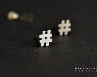 Sterling Silver Hashtag/Number # Sign Stud Earrings