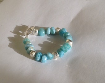 Larimar bracelet larimar jewelry stardust and Larimar beads shine bright mothers day gifts