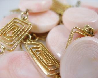 Vintage HOBE Necklace, Pink Swirl Bead & Gold Filigree