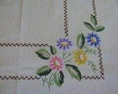 "Lovely Hand Embroidered 49"" by 62"" Tablecloth With Daisy  Flowers in Blue Purple Pink and Yellow - Vintage - Mid Century"