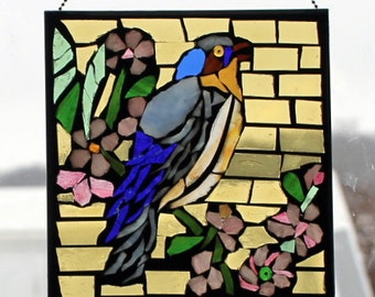 Blue Bird   Stained Glass SunCatcher or wall Decoration