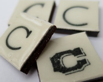 C Ceramic lettering, scrabble sized alphabet tiles hand made in the UK
