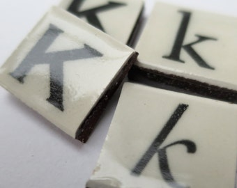 K Ceramic lettering, scrabble sized alphabet tiles hand made in the UK