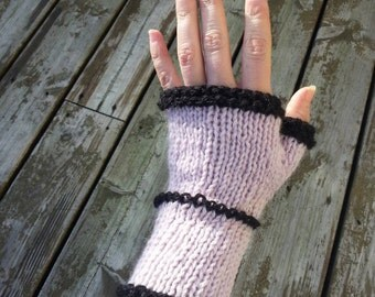 Pink and black wrist warmers