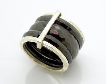 Black Ceramic stacking ring with sterling silver bands