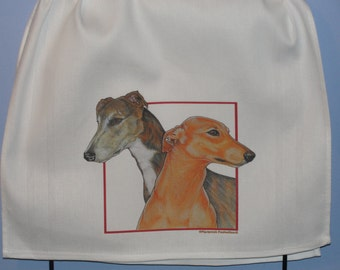 Greyhound crocheted single kitchen dish towel