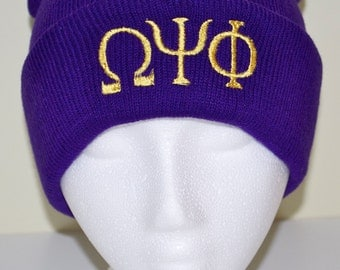 Greek Lettered Beanie Hat Ones Size Embroidered