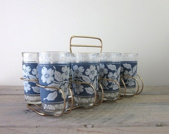 Vintage Blue and White Dogwood Glasses Barware Set in Caddy by Hazel Atlas