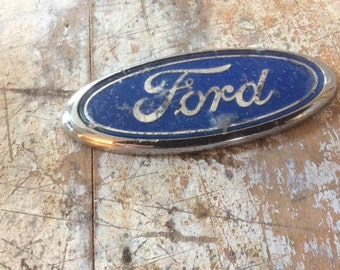 Ford emblem vintage blue silver oval truck car broken off of front