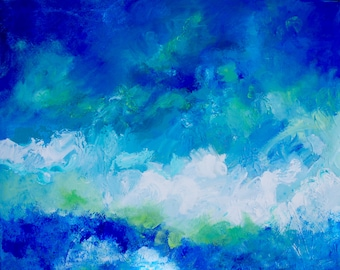 24 x 30 Original Acrylic Painting Fine Art Modern Impressionist  Abstract Landscape by Rebecca Croft