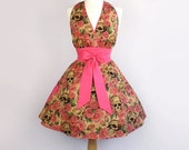 Skulls and Roses and Pink Marylyn Apron