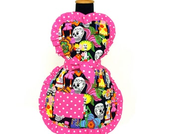 Little Girls Colorfull Sugar Skulls Apron / One size Fits Ages 2-10