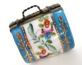 Vintage Carpetbag Pill Box Hand Painted Flowers Handbag Porcelain //Vintage Accessories//Medication//