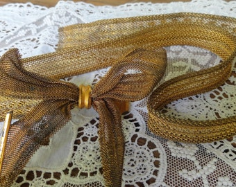 Vintage flapper 1930s costume MESH BELT Bow Front Repair or Upcycle Supplies