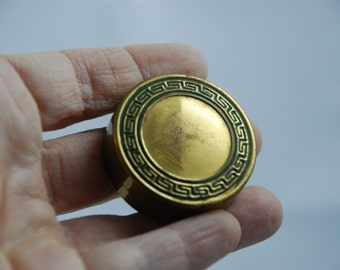 VIntage Art Deco Gold Brass Metal Compact Pill Box 1920's - 1930's