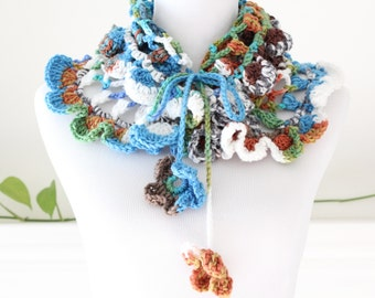 Crocheted Blue White Green brown Scarf Neckwarmer