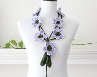 Crochet Lavender Green Flower Lariat  Necklace, Scarf, Scarflette