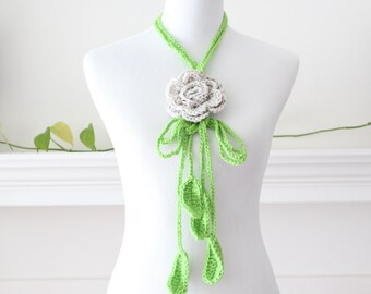 Crocheted Oatmeal, Light Green Lariat Scarf, Necklace, Scarflette