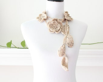 Crocheted Beigetweed Scarf Scarflette Necklace