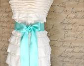 Satin sash in your choice of colors. Bridal belt Bridesmaids sash Flower Girl sash. Seafoam shown