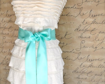 Satin sash in your choice of colors. Bridal belt Bridesmaids sash Flower Girl sash. Seafoam shown
