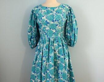1950s cotton dress /  50s aqua floral dress / Evangenline dress