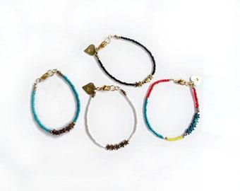 Tiny Star Bracelet, Custom Bracelet, Multi Color Beaded Bracelet, Personalized Gemstone Bracelet