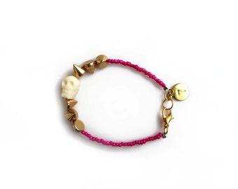 Beaded Skull Bracelet, Bone Skull Bracelet with Spikes, Personalized Initial Bracelet