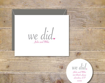 Wedding Thank You Cards, We Did, Just Married, Rustic Wedding Cards, Bridal Shower Thank You Cards, Wedding Thank You Notes - We Did. We Do