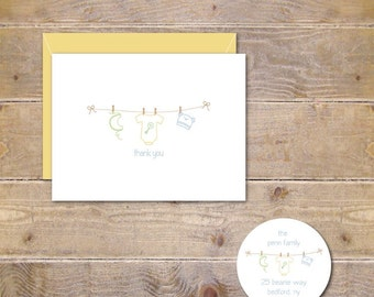 Baby Shower Thank You Cards, Baby Announcement Cards, New Baby Cards, Baby, Onesie, Clothesline