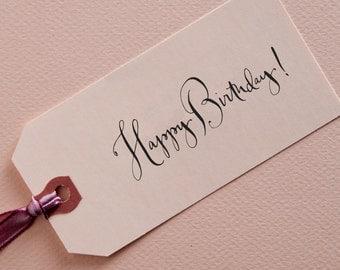Calligraphy Happy Birthday Stamp