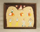 Folk Art Clown Painting , Circus , Primitive , Naive , Art , Original , Colorful , Circus Clowns , Handmade , Hand Painted , Outsider Art