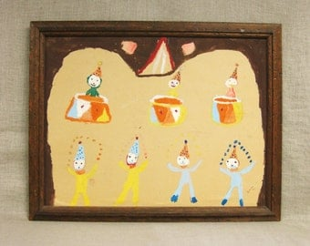 Folk Art Clown Painting , Circus , Primitive , Naive , Art , Original , Colorful , Circus Clowns , Handmade , Hand Painted , Outsider Art