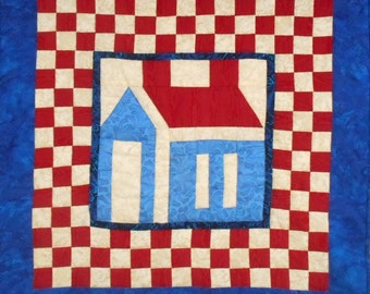 Quilted Wall Hanging Red White and Blue Patriotic Checkerboard Schoolhouse Design July 4th Memorial Day Summer Decor