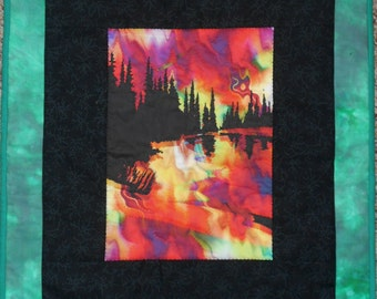 Quilted Wall Hanging Fire on the Mountain Wildfire in Green, Black, Red, Orange and Yellow