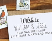 Custom Address Stamp - Calligraphy Stamp - Self Inking  - wedding stamp - Wilshire