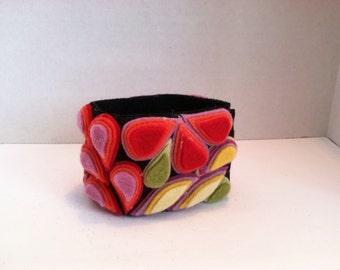 Ladies Jewelry Boho mosaic wool felt cuff bracelet Poppies wearable art