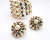 Hobe Wire Wrap Bracelet Earrings with Pearls and Crystals