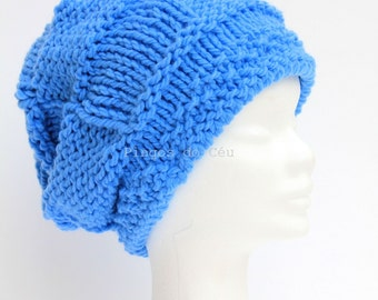 Blue knitted hat. High Quality Wool. Handmade by T. Catana. Made to Order.