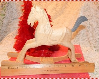 Hand Carved Unfinished Wooden Rocking Horse Toy Figure Craft project Wood toy handmade