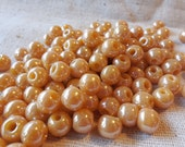 Irridescent Peach Round Glass Beads (approx 60) - Pony style, high polish