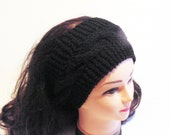 Hand Knit Head Band, Womans Knitted Headband, Cable Knit Head Band, Black Ear Warmer, MADE TO ORDER