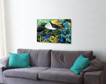 Humuhumu And a Wrasse, An original giclee print on canvas.done in watercolor style